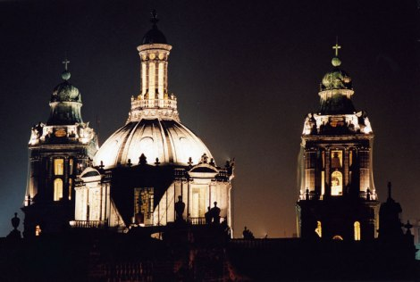 Mexico City's cathedral at night.