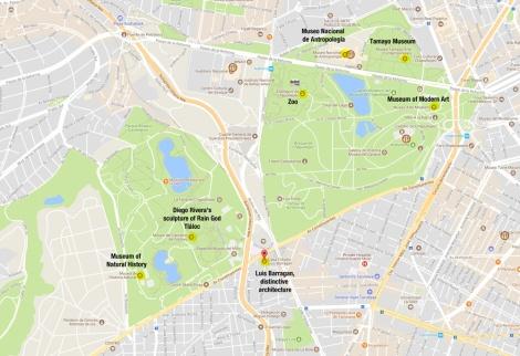 Google Map of Mexico City Chapultepec Area