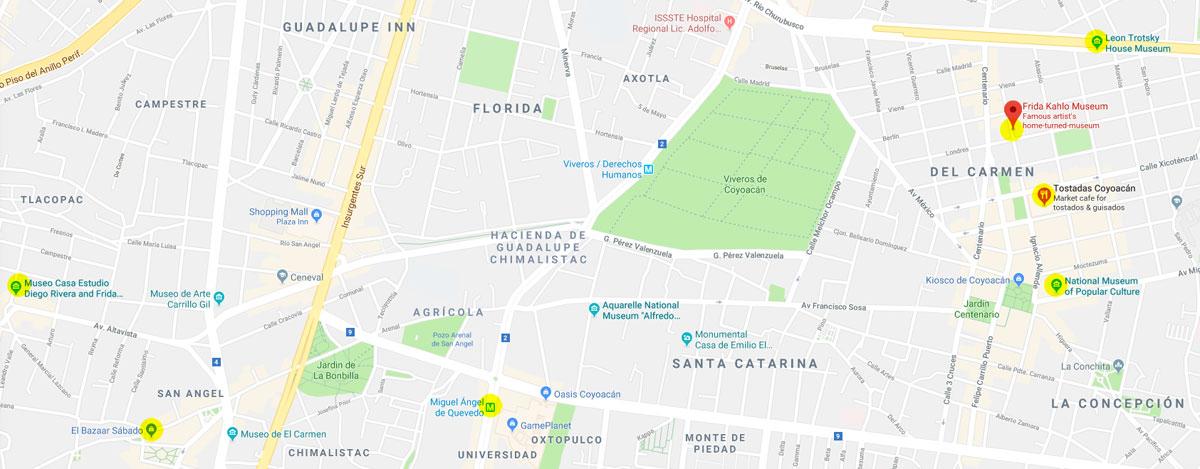 Map of San Angel CoyoacanMexico DF Albatz Travel Adventures