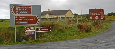 Road signs on the Ring of Kerry leading to the Ring of Skellig: No Buses Allowed!