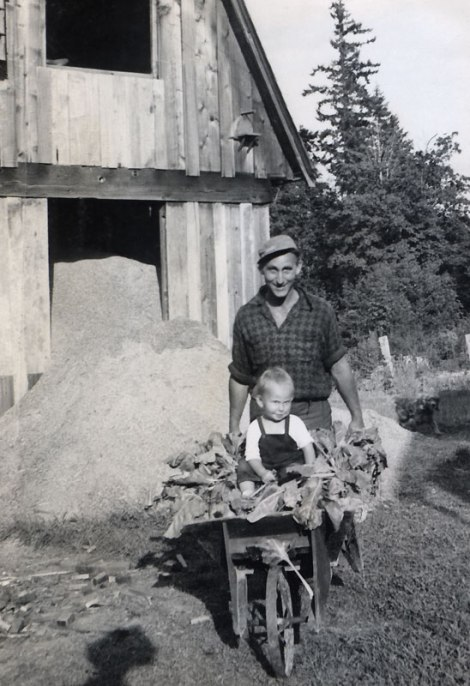 dad with me in the wheel barrow