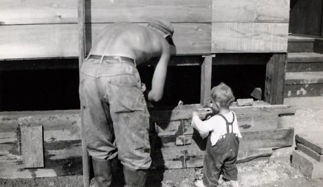 dad and I fixing the house in the summer of 1955