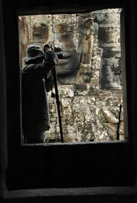 Photographer at the Bayon in Angkor Wat, Cambodia