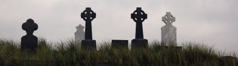 Crosses in the cemetery on the Aran Island of Inisheer, Ireland