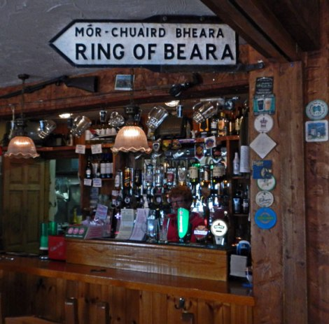 Ring of Beara sign in an Ardgroom Pub, Ireland
