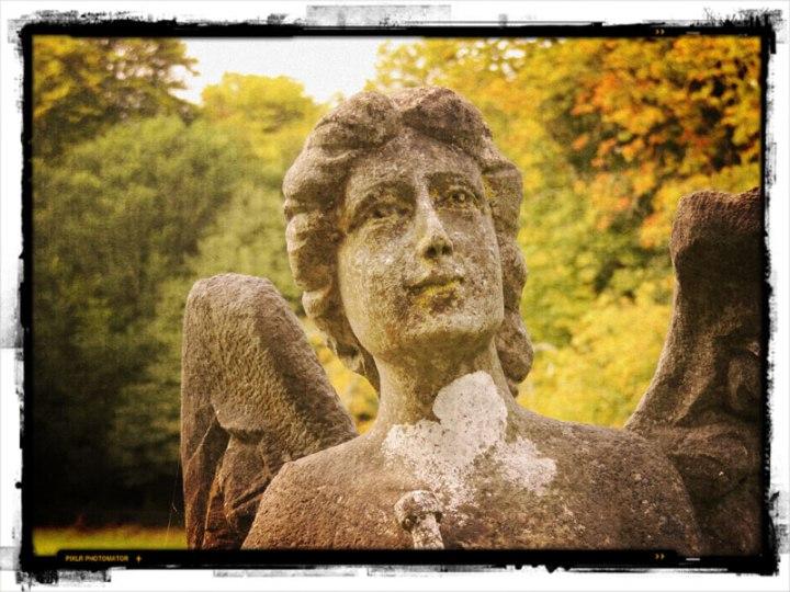 Angel in the cemetery of Killarney National Park's Muckross Abbey run through Pixlromatic