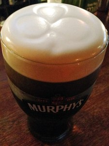 Murphy's Stout with a 'shamrock' etched into the beer foam (in Sneem, Ireland)