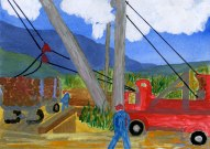 Dad's Painting of Logging Timber in Sweden, 1947
