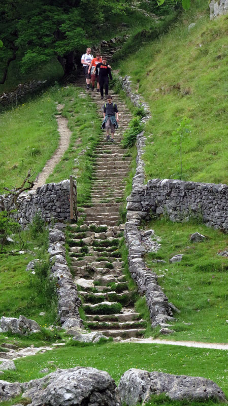 Endless stairs on a walk through the Yorkshire Dales near Malham, England