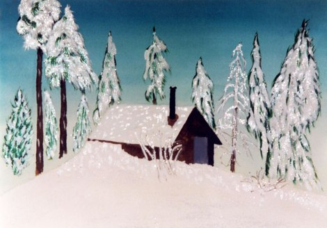 Dad's painting of a cabin in the snowy woods, probably Sweden