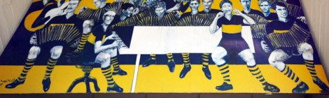 A mural on the wall of the Boca Juniors 'Futbol' Stadium in Buenos Aires, Argentina