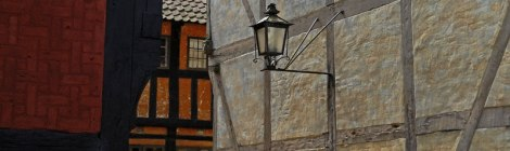 Houses with a Lantern in Den Gamle By, an old recreated village in Aarhus, Denmark