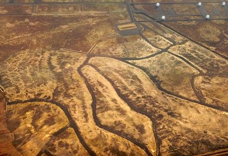 Aerial shot of a landform in Iceland