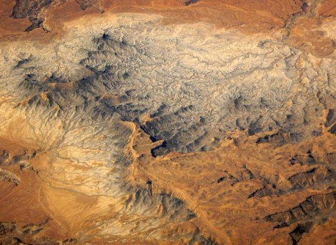 Aerial shot of the desert plateau somewhere over America