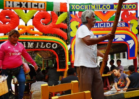 Xochimilco, a floating festival on Sundays when Mexican families cruise down the waterways on brightly-coloured boats