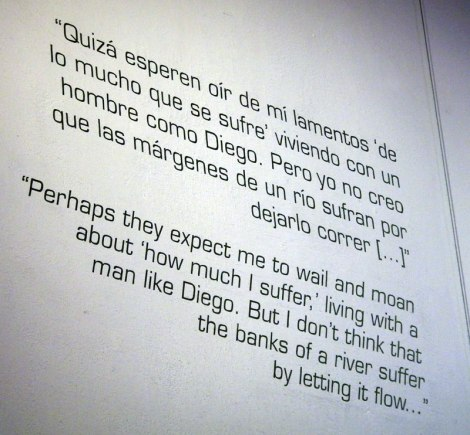 Frida writing about Diego on the wall of the Case Azul in Mexico City