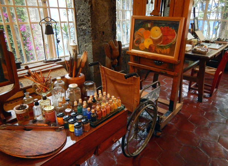 Frida Kahlo's studio in the Case Azul where she lived with her husband Diego Rivera