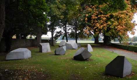 Geometric stone sculptures in the garden at the Irish Museum of Modern Art in Dublin, Ireland