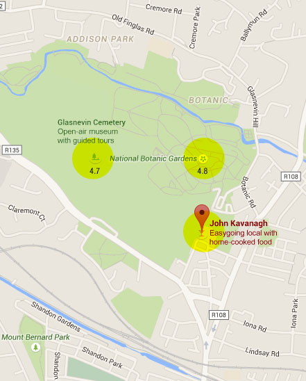 Google Map of Dublin featuring the Botanical Garden and Glasvegin Cemetery next to it and a historic pub too!