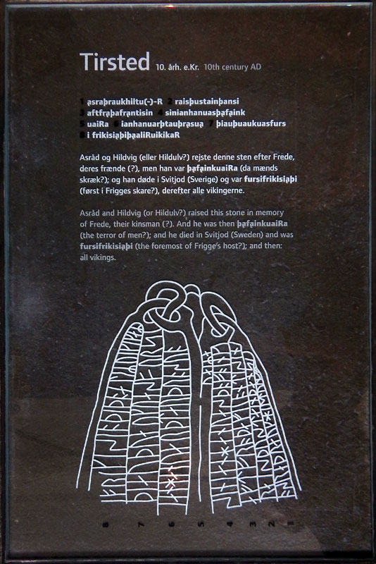 Notes on rune stone at the Danish History Museum in