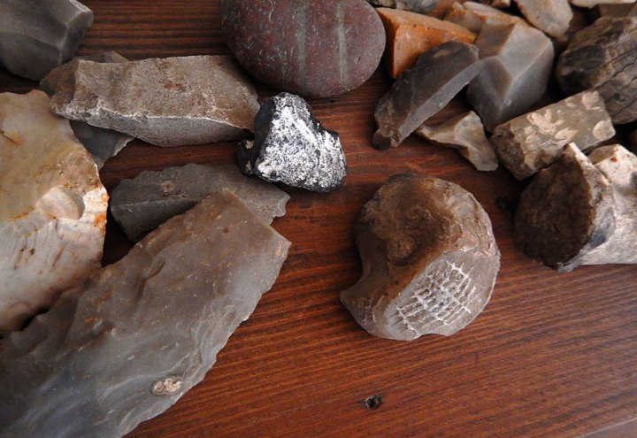 Flint tools and a flint fossil at Rubenlund, my dad's Uncle Eric's place where he worked for a summer