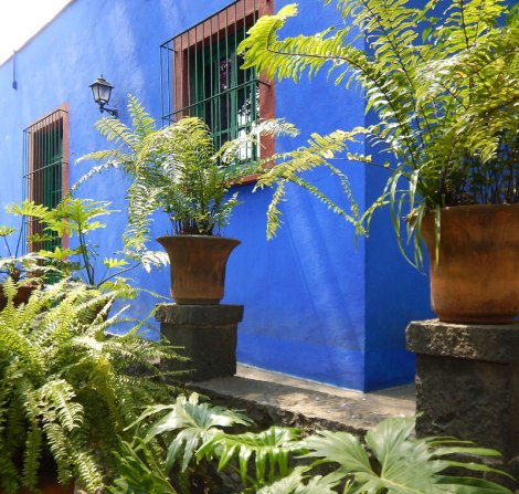 Frida Kahlo's house the Casa Azul, with its Mexican blue walls