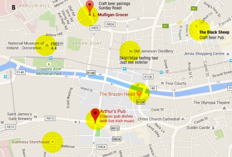 Google map of Dublin near the Guinness Storehouse