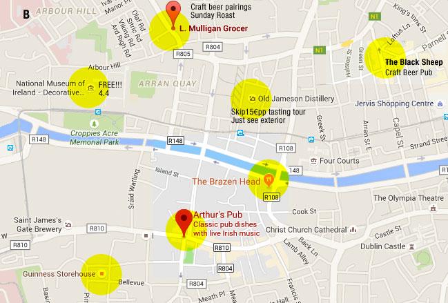 Google map of Dublin near the Guinness Storehouse