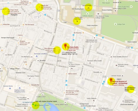 Google Map of Dublin showing Trinity Colege, some Literary Pubs and St Stephen's Green