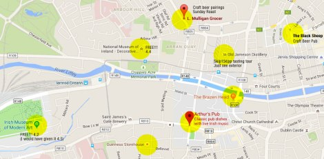 Map showing the two Arts Museums along with a bunch of recommended pubs in Dublin, Ireland