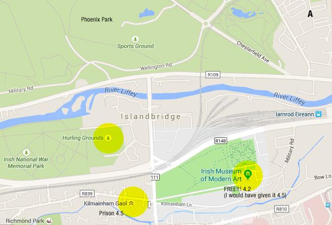 Google map of Dublin near the MoMA