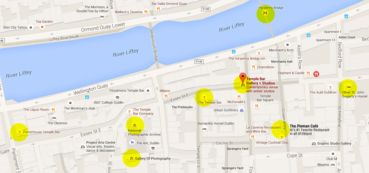 Google map of the Temple Bar District in Dublin, Ireland