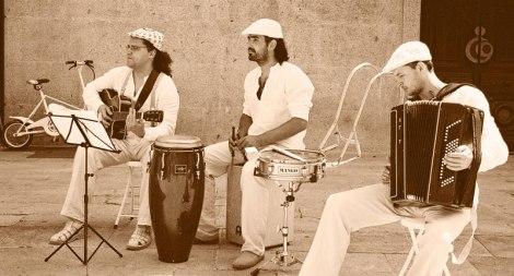 street musicians in Santiago de Compostela, Spain