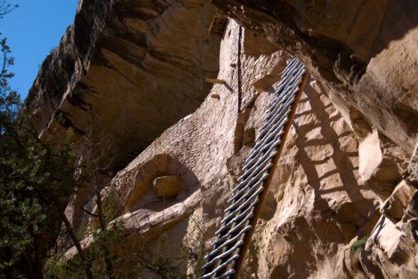 A ladder up to a cliff dwelling in Mesa Verde National Park in Colorado, USA