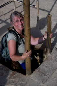 Batz climbing up the ladder from the ceremonial Kiva in Spruce House in Colorado's Mesa Verde National Park