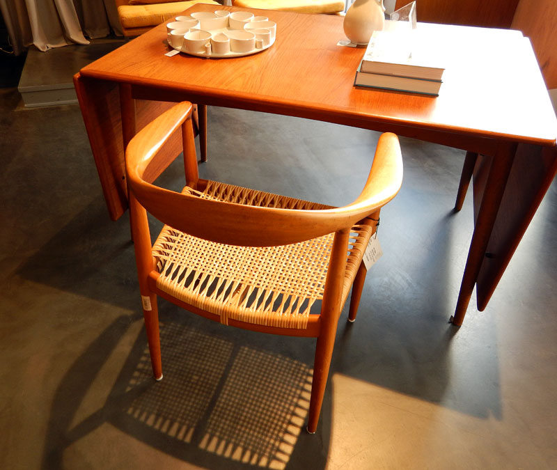 Chair and table at a Danish Mid-century Modern Furniture store in Copenhagen, Denmark