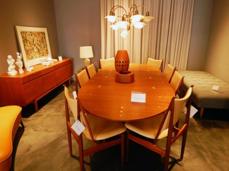 Table and chairs at a Danish Mid-century Modern Furniture store in Copenhagen, Denmark
