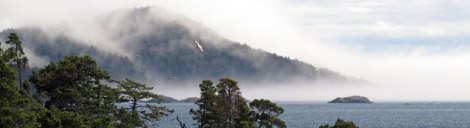 Fog across the water at Sooke on Vancouver Island