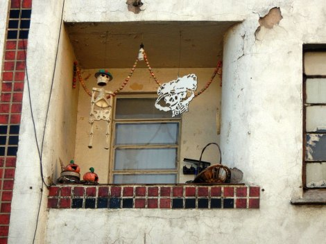 Even though we were there in April, this balcony in the City still bears evidence of the Day of Dead celebration