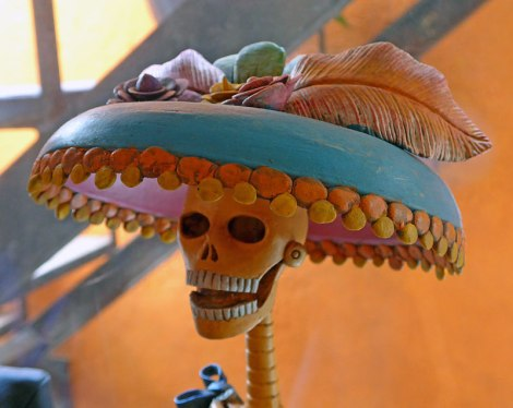 Katerina, a stylish ceramic skull with a hat in San Angel, a suburb of Mexico City