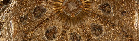 A gilded cathedral ceiling in Puebla, Mexico
