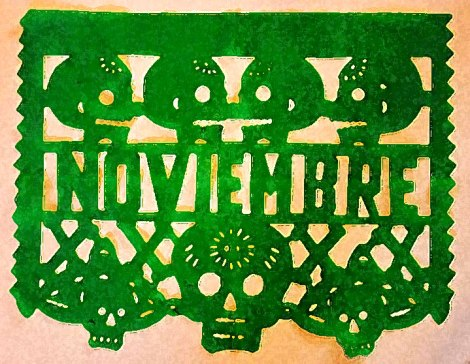 Day of the Dead skulls celebrate Noviembre in those uniquely Mexican cut-paper decorations called Papel Picado