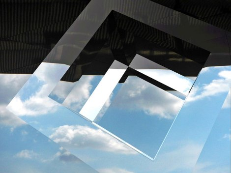 Reina Sofia Clouds reflected off a geometric shape in the photo app Matter