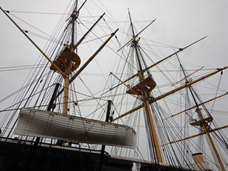 The rigging of the Frigate Jylland in Ebeltoft, Denmark.
