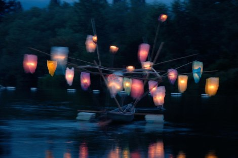 At the Lantern Festival, a boat floating on Trout Lake