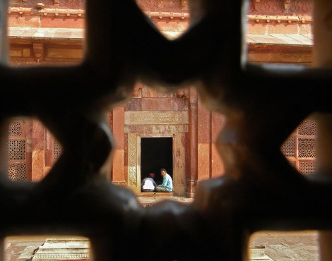 Pierced window screen at Fatehpur Sikri in India
