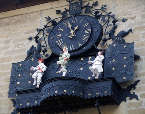Clock with dancing figures in Laguardia in Rioja in northern Spain.