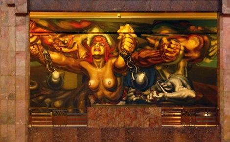 A Siqueiros mural in the Palacio de Bellas Artes in Mexico City