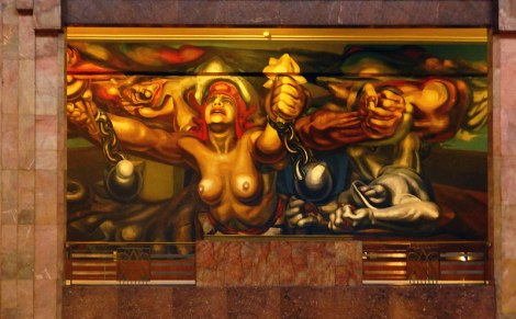 A Siqueiros mural in the Palacio de Bellas Artes in Mexico City