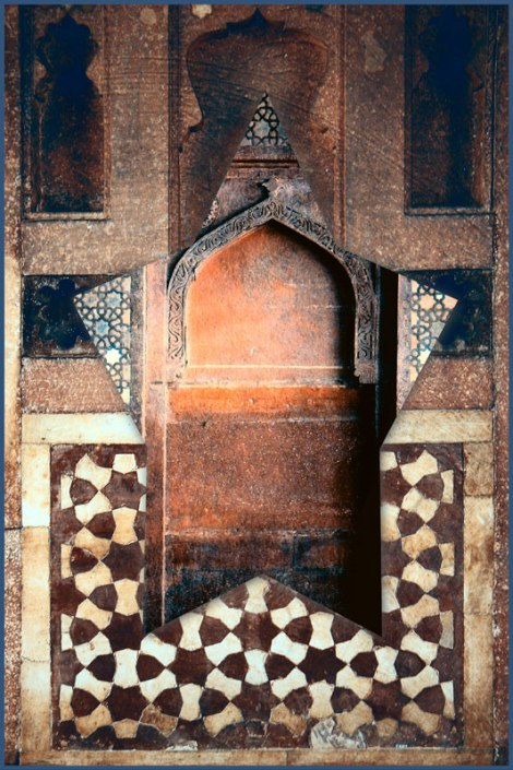 The geometric patterns of Fatehpur Sikri and the BabyTaj collaged in the photo app Photoshop Express